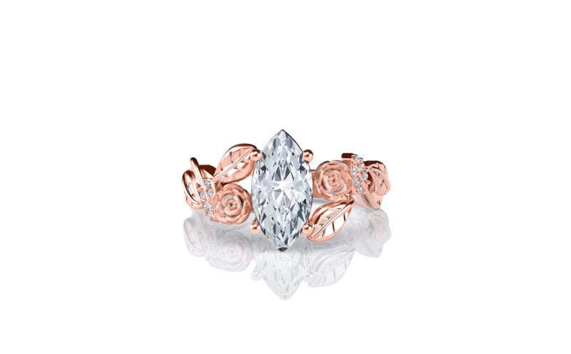Lylah-rose-marquise-rose-gold-floral-flower-gold-engagement-ring