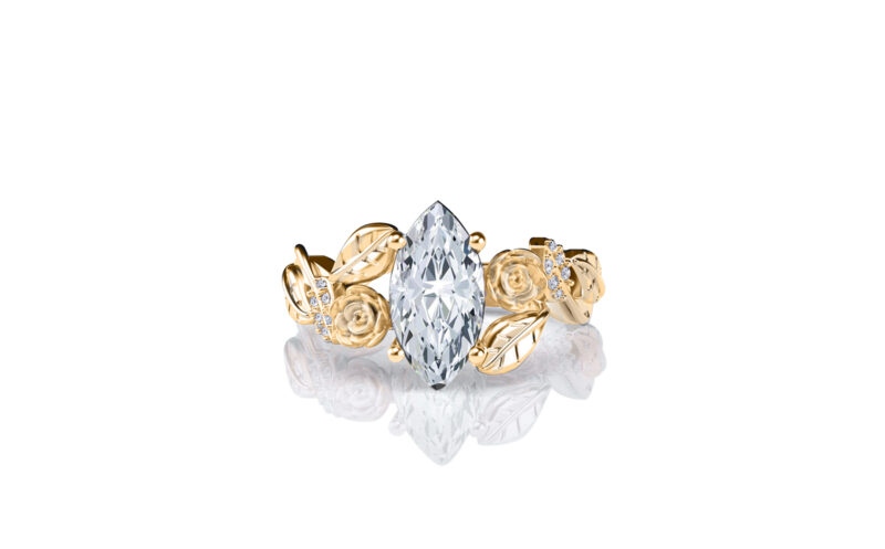 Lylah-rose-marquise-yellow-gold-floral-flower-gold-engagement-ring