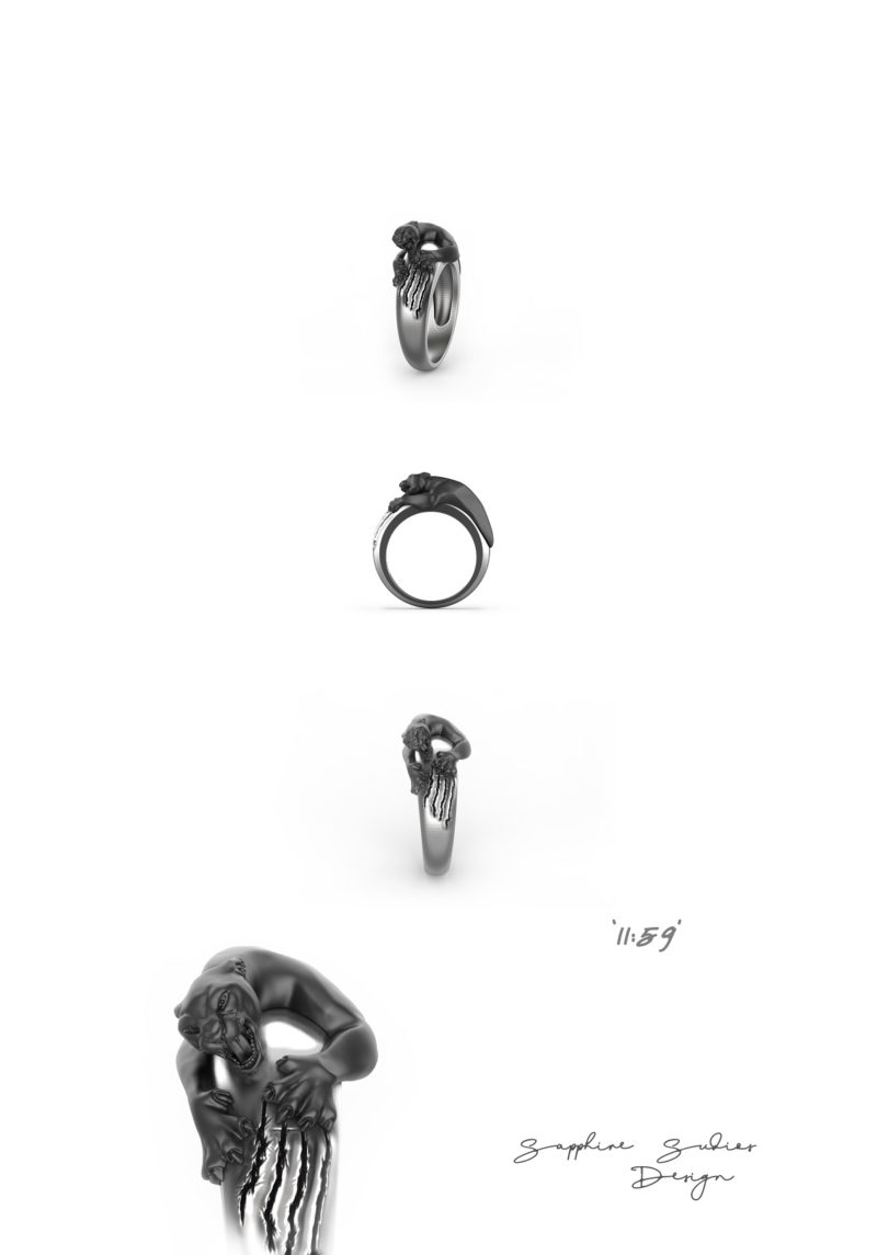 1159 mens panther ring sketch